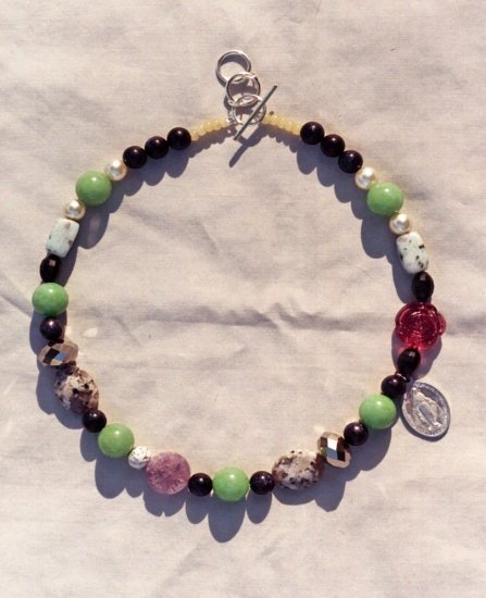 The Garden: 09 - Natural Beaded Necklace - Glass, Dyed Jade, Crystal, Stone, Amethyst,  Plastic