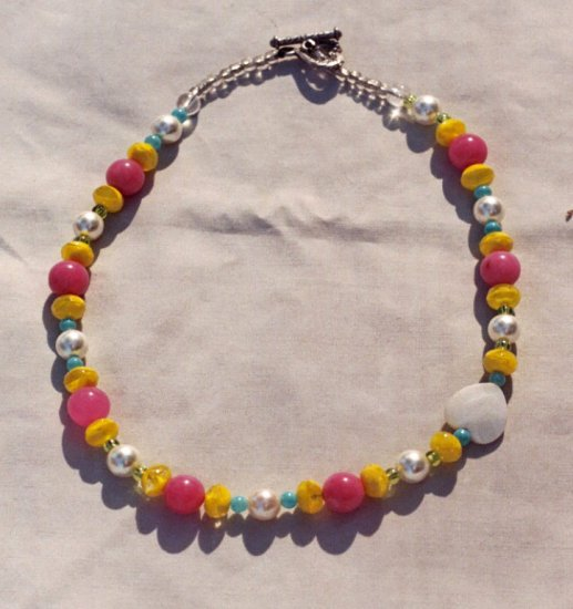 The Garden: 10 - Natural Beaded Necklace - Glass, Faux Pearl, Plastic, Dyed Jade, Shell Heart