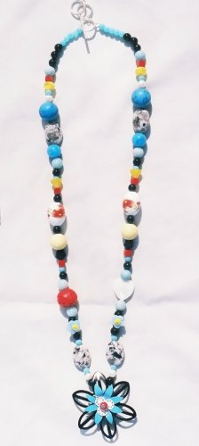 The Garden: 14 - Natural Beaded Pendant Necklace - Glass, Onyx, Pearl, Shell, Dyed Jade, Cinnabar