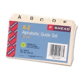 """Smead A-Z Alphabetic Guide Set Card File 55076 5""""X3"""" Qty 24 Sets FREE SHIPPING"""