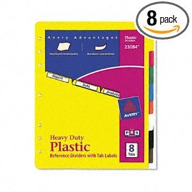 Avery Heavy Duty Plastic Dividers 8 Tabs 23084 FREE SHIPPING