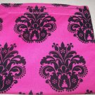 Hot Pink Black Damask Reusable Sandwich Snack Bag