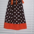Chocolate Brown White Polka Dot Fall  Thanksgiving Pillowcase Dress