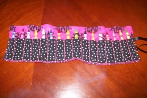 Hot Pink Black Damask Crayon Roll, Holds 16 Crayons