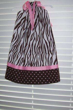 Brown White Zebra Print Pillowcase Dress