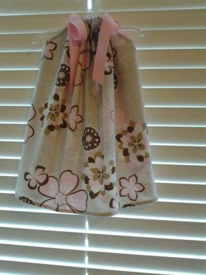 Beige Pink Floral Pillowcase Dress
