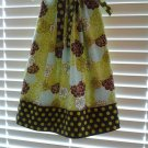 Lime Green Brown Floral Pillowcase Dress