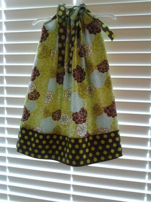 Lime Green Brown Floral Pillowcase Dress