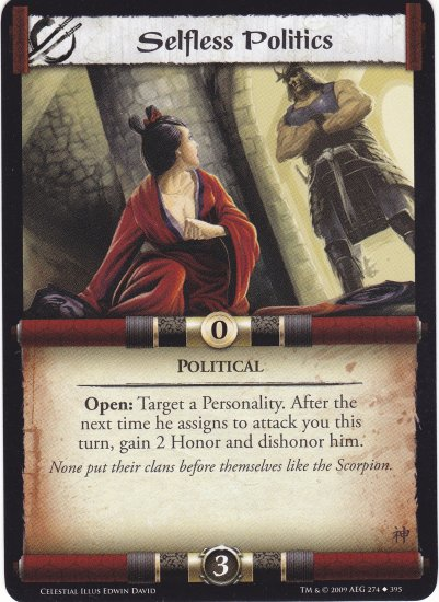 Selfless Politics (L5R) - Near Mint