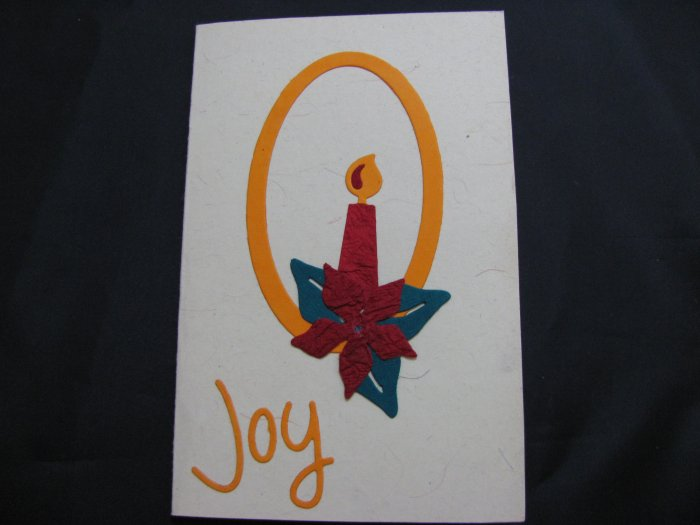 "(JOY 02) ""Joy"" Candle Handmade Greeting Card"