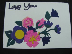 "(LVY 02) ""Love You"", Pink Rose Handmade Greeting Card"