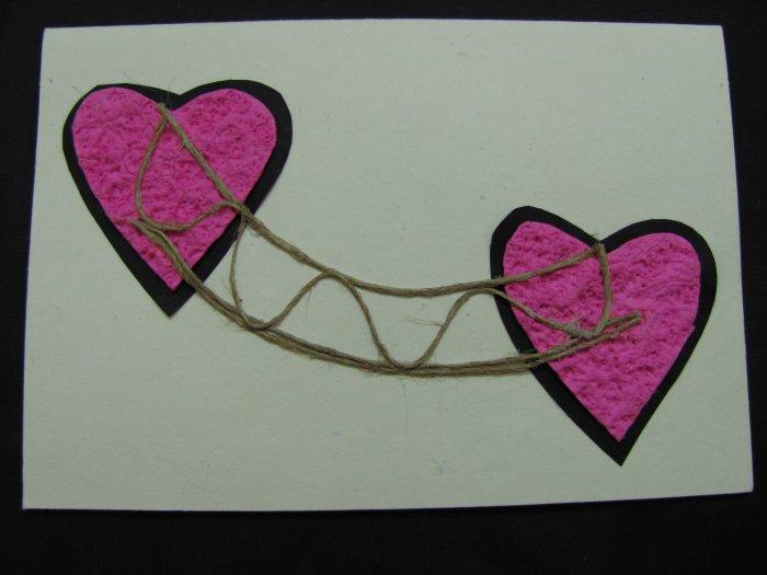 (HRT 25) Pink Hearts w/ Jute Bridge Handmade Greeting Card