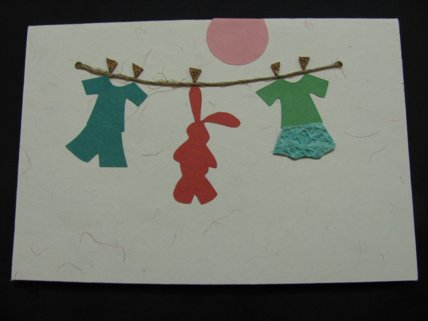 (CLN 02)  Baby Clothes on Clothesline Handmade Greeting Card