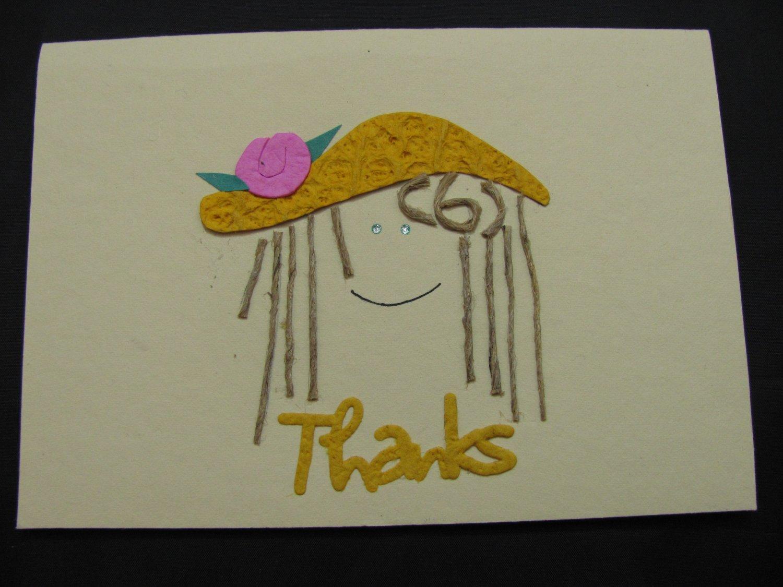 "(THKS02) ""Thanks"", Girl w/ Yellow Hat Handmade Greeting Card"