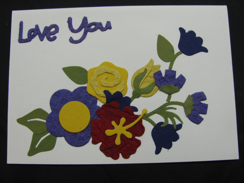 "(LVY 01) ""Love You"", Yellow Rose Handmade Greeting Card"