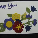"(LVY 01) ""Love You"", Yellow Rose Handmade Greeting Card"