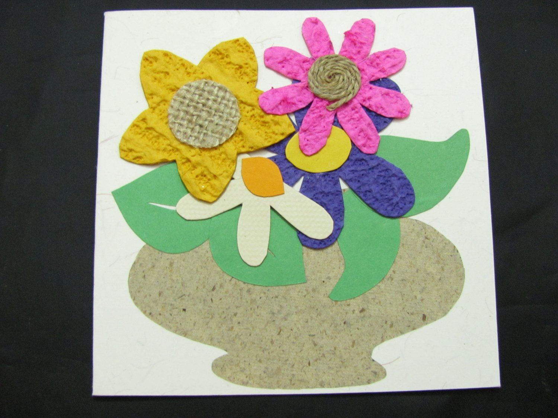 (FLR 29)  Textured Flowers in Vase Handmade Greeting Card