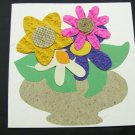 (FLR 29)  Textured Flowers in Vase Handmade Greeting Card