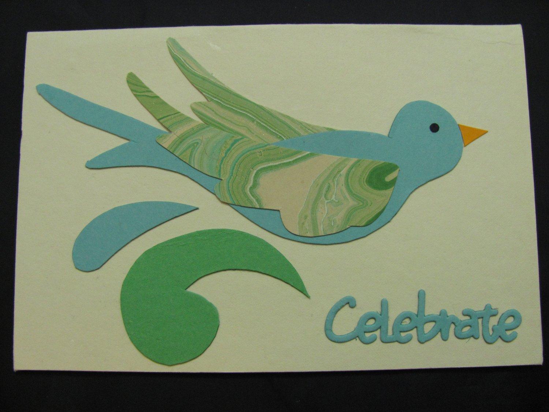 "(CLBRT 02) ""Celebrate"" Blue/Green Bird Handmade Greeting Card"