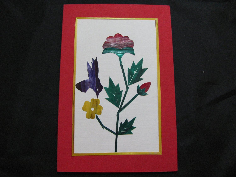 (FLR 09) Hummingbird & Flowers Handmade Greeting Card