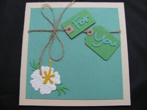 """(PKG 01) """"For You""""  Hibiscus Handmade Greeting Card"""
