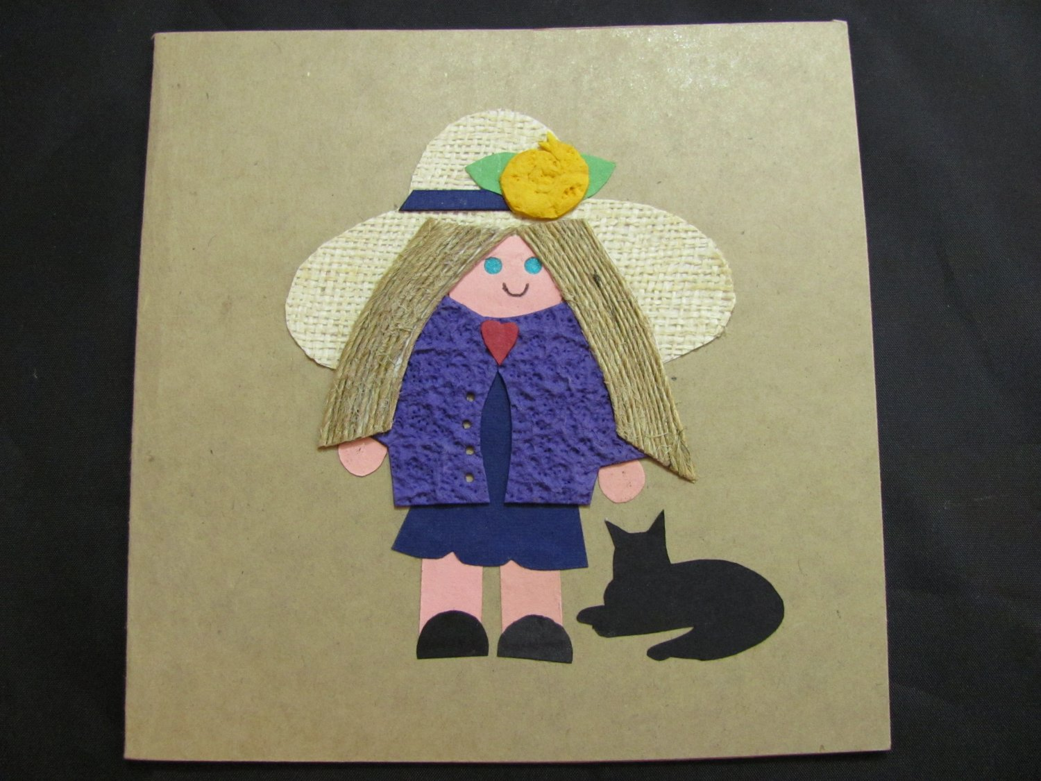 (GLR 02) Girl With Cat Handmade Greeting Card