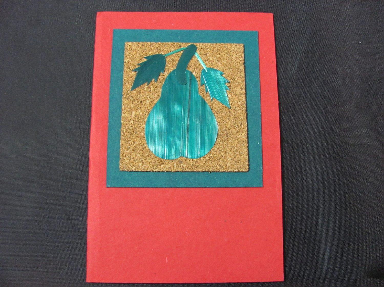 (FRT 01) Pear of Wheat Straw On Cork Handmade Greeting Card