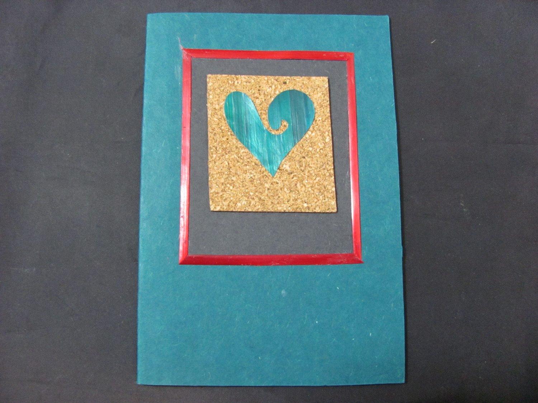 (HRT 20) Teal Wheat Straw Heart on Cork Handmade Greeting Card