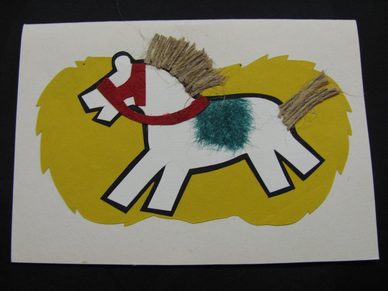(HRS 03) White Horse, Jute Mane & Tail Handmade Greeting Card