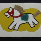 (HRS 03) White Horse, Jute Mane & Tail Handmade Greeting Card