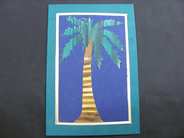 (TRE 01) Wheat Straw Palm Tree Handmade Greeting Card