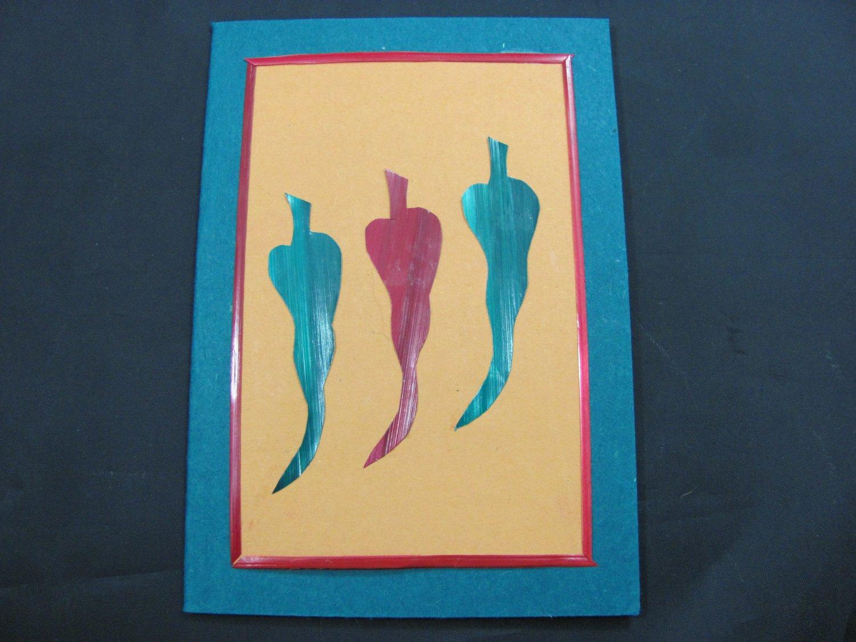 (HOT 01) Wheat Straw Chili Peppers Handmade Greeting Card