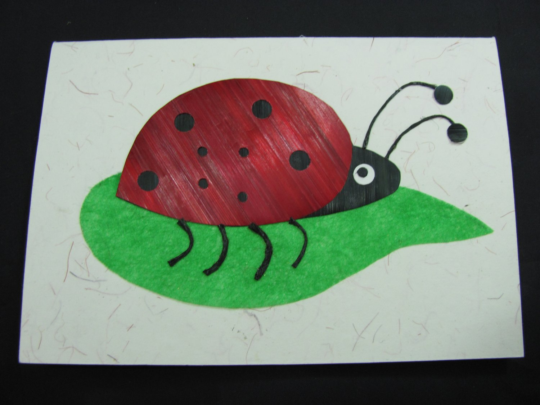 (LBG 02) Ladybug Wheat Straw Handmade Greeting Card