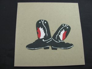 (CBT 02) Cowboy Boots, Red & Black Handmade Greeting Card
