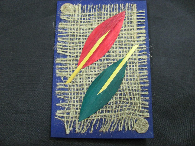 (PLT 03) Red & Green Wheat Straw Leaves on Jute Handmade Greeting Card