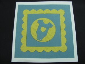 (BBY 03)  Blue & Yellow Baby Clothes Handmade Greeting Card