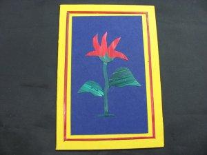 (FLR 20)  Wheat Straw Red Tropical Flower Handmade Greeting Card