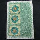 (FLR 40) Three Teal Flowers Handmade Greeting Card