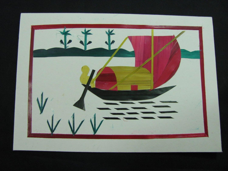(BB 01)  Bengali Boat Wheat Straw Handmade Greeting Card