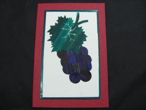 (FRT 03)  Wheat Straw Grapes & Leaves Handmade Greeting Card
