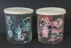 2 Vintage Hazel Atlas Lidded Jars Pink and Aqua in Great Shape