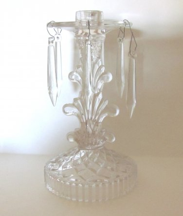 Vintage Indiana Glass Candlestick w Attached Bobeche and Prisms