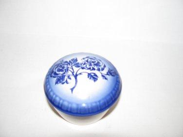 Vintage Flow Blue CarltonWare Round Trinket Box