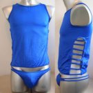 Men's Sexy Stretch Briefs Bodysuit Blue 2pcs #BD74