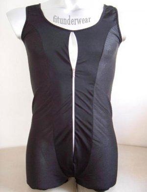 Men's Sexy Stretch Boxer Bodysuit Black With Zip #BD36