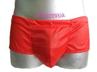 Men's Sexy Boxer Underwear Solid Red Lingeire #BX151