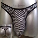 Men's Sexy Lingerie Checker Thong Underwear C-Thru #TH12