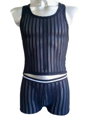 Men's Sexy Underwear C-Thru Bodysuit Black 2pcs Lingerie #BD104