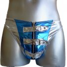 New Men's Sexy Thong Underwear Satin/PVC Silver/Blue Lingerie #TH153