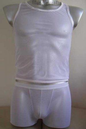 New  Men's Sexy Underwear Stretch Bodysuit Boxer C-thru White Lingerie #BD13